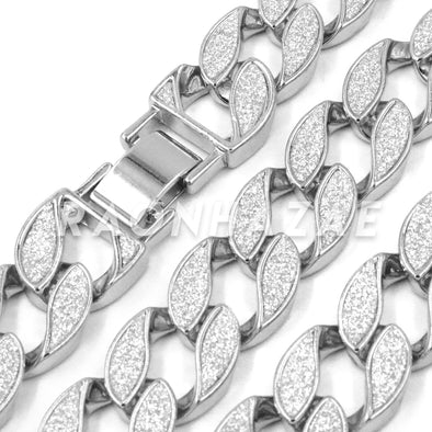 "14K White Gold 18mm Glitter Sandblasted 8.5"" - 36"" Flat Miami Cuban Chain - Raonhazae"