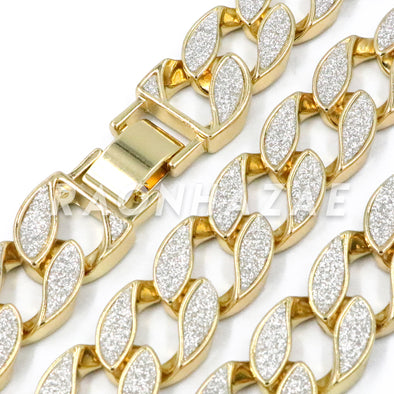 "Iced Out 14K Gold 18mm Glitter Sandblasted 8.5"" - 36"" Flat Miami Cuban Chain - Raonhazae"