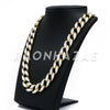 "14K Gold 18mm Glitter Sandblasted 8.5"" - 36"" Flat Miami Cuban Chain - Raonhazae"