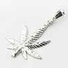 Italian .925 Sterling Silver Marijuana Leaf Pendant 5mm Figaro Necklace S02