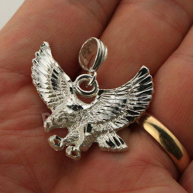 Italian .925 Sterling Silver EAGLE Pendant 5mm Figaro Necklace S05 - Raonhazae