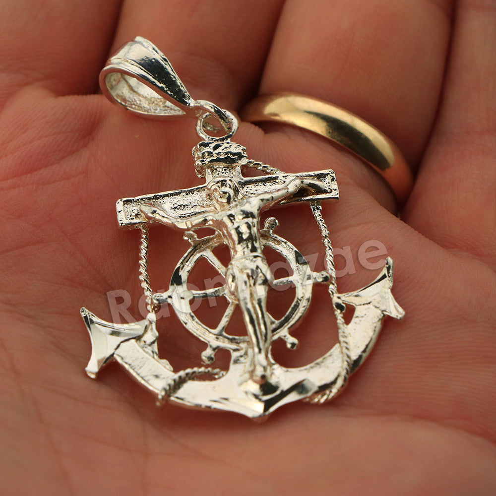 Italian  925 Sterling Silver CRUCIFIX ANCHOR Pendant 5mm Figaro Necklace  S07 -