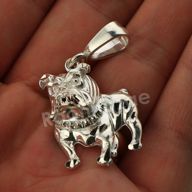 Italian .925 Sterling Silver BULLDOG Pendant 5mm Figaro Necklace S03 - Raonhazae
