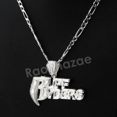 Italian .925 Sterling Silver RUFF RYDERS Pendant 5mm Figaro Necklace S09 - Raonhazae