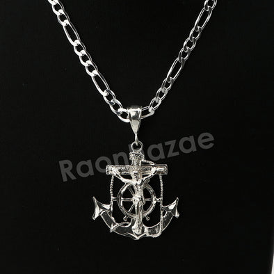 Italian .925 Sterling Silver CRUCIFIX ANCHOR Pendant 5mm Figaro Necklace S07 - Raonhazae