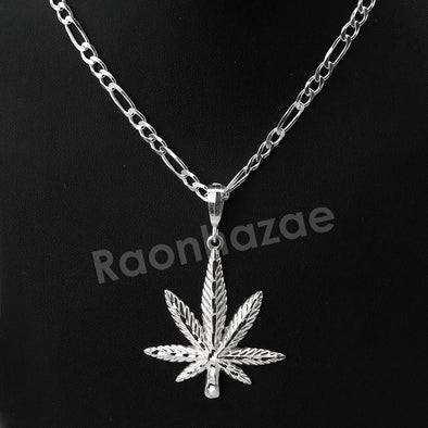 Italian .925 Sterling Silver Marijuana Leaf Pendant 5mm Figaro Necklace S02 - Raonhazae