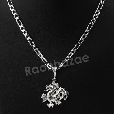 Italian .925 Sterling Silver DRAGON Pendant 5mm Figaro Necklace S04