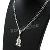 Italian .925 Sterling Silver PRAYING HANDS CROSS Pendant 5mm Figaro Necklace S06 - Raonhazae