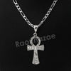 Italian .925 Sterling Silver ANKH CROSS Pendant 5mm Figaro Necklace S01
