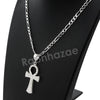 Italian .925 Sterling Silver ANKH CROSS Pendant 5mm Figaro Necklace S01 - Raonhazae