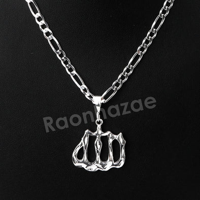 Italian .925 Sterling Silver ALLAH Pendant 5mm Figaro Necklace S02