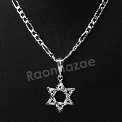 .925 Italian Sterling Silver SIX point STAR OF DAVID Pendant 5mm Figaro Necklace - Raonhazae