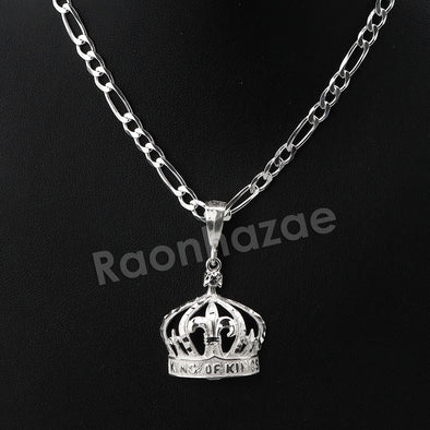 Italian .925 Sterling Silver KING CROWN Pendant 5mm Figaro Necklace S04 - Raonhazae