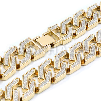 Iced Out 14K Gold Plated Glitter SandBlasted Curb Hex 18mm Cuban Chain - Raonhazae