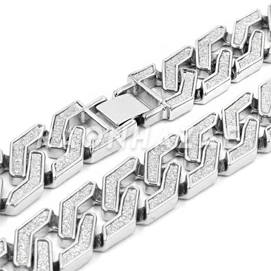 Iced Out 14K White Gold Plated Glitter SandBlasted Curb Hex 18mm Cuban Chain - Raonhazae