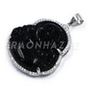 .925 Sterling Silver Smiling Chubby Buddha (Black Jade) Pendant w/ Moon Cut Ball Chain - Raonhazae