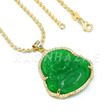 .925 Sterling Silver GOLD Plated Iced out Smiling Chubby Buddha (Green Jade) Pendant w/ Moon Cut Ball Chain - Raonhazae