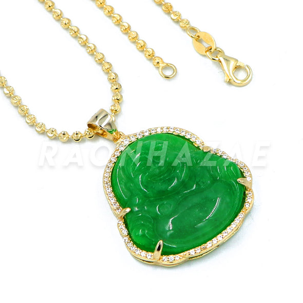 .925 Sterling Silver GOLD Plated Smiling Chubby Buddha (Green Jade) Pendant w/ Moon Cut Ball Chain - Raonhazae