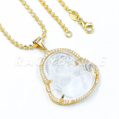 .925 Sterling Silver GOLD Plated Iced out Smiling Chubby Buddha (Clear Jade) Pendant w/ Moon Cut Ball Chain - Raonhazae