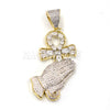 "Lab Diamond 14K Gold PT Praying Hands Ankh Cross Pendant w/ 24"" Cuban Chain B011G - Raonhazae"
