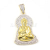 "Iced Out Lab Diamond 14K Gold PT Praying Hands Ankh Cross Pendant w/ 24"" Cuban Chain B011G"