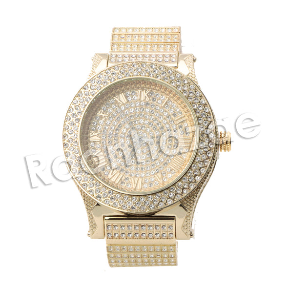 HIP HOP RAONHAZAE RIHANNA LUXURY GOLD FINISHED LAB DIAMOND WATCH - Raonhazae
