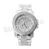 HIP HOP RAONHAZAE 50 CENT SILVER LAB DIAMOND WATCH MIAMI CUBAN CHAIN - Raonhazae