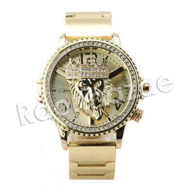 HIP HOP RAONHAZAE LION FACE LUXURY GOLD FINISHED LAB DIAMOND WATCH - Raonhazae
