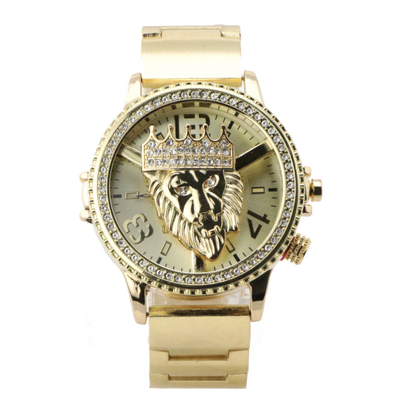 Copy of HIP HOP RAONHAZAE LION FACE LUXURY GOLD FINISHED LAB DIAMOND WATCH X6 - Raonhazae