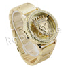 HIP HOP RAONHAZAE GOLD FINISHED LAB DIAMOND WATCH CUBAN CHAIN SET7 - Raonhazae