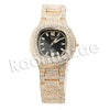 HIP HOP RAONHAZAE GOLD FINISHED LAB DIAMOND WATCH CUBAN CHAIN SET10 - Raonhazae
