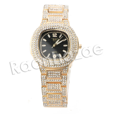 HIP HOP ICED OUT RAONHAZAE GOLD FINISHED LAB DIAMOND WATCH CUBAN CHAIN SET10 - Raonhazae
