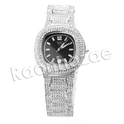 HIP HOP RAONHAZAE LUXURY SILVER FINISHED LAB DIAMOND WATCH - Raonhazae