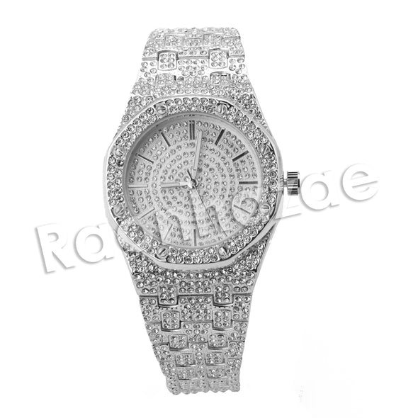 HIPHOP RAONHAZAE SILVER LAB DIAMOND WATCH MIAMI CUBAN CHAIN SX3 - Raonhazae