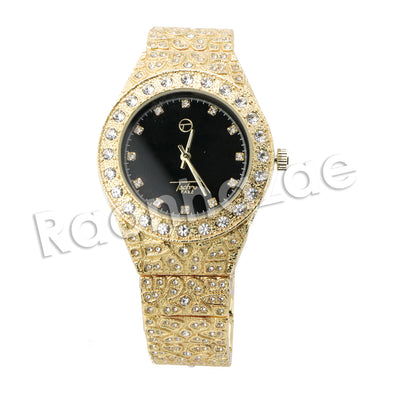 HIP HOP ICED OUT RAONHAZAE GOLD FINISHED LAB DIAMOND WATCH CUBAN CHAIN SET12 - Raonhazae