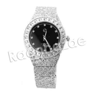 HIPHOP RAONHAZAE SILVER LAB DIAMOND WATCH MIAMI CUBAN CHAIN SX4 - Raonhazae
