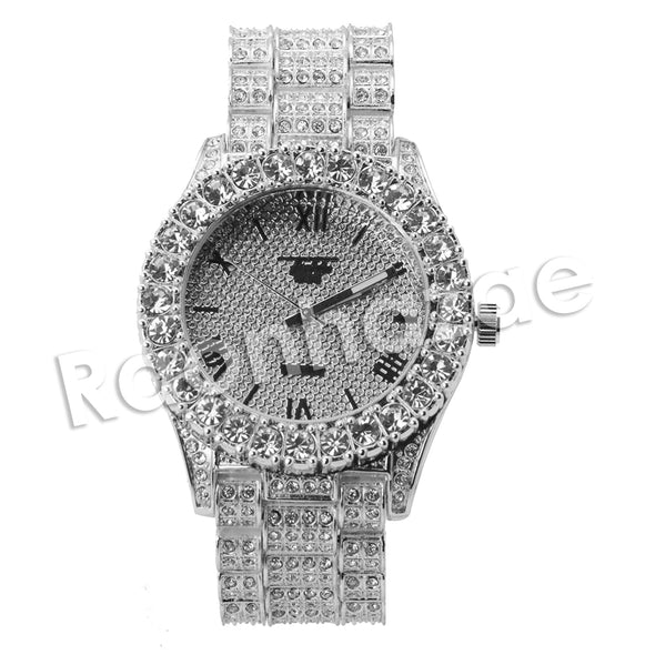 HIPHOP RAONHAZAE SILVER LAB DIAMOND WATCH MIAMI CUBAN CHAIN SX5 - Raonhazae
