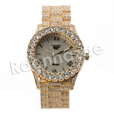 HIP HOP RAONHAZAE TYGA LUXURY GOLD FINISHED LAB DIAMOND WATCH - Raonhazae
