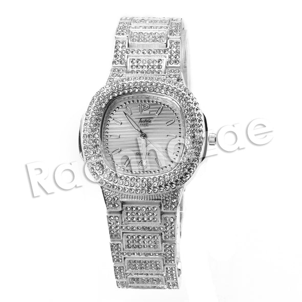 HIPHOP ICED OUT RAONHAZAE SILVER LAB DIAMOND WATCH MIAMI CUBAN CHAIN SX6 - Raonhazae