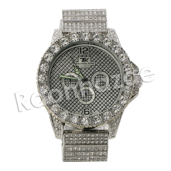 HIPHOP RAONHAZAE SILVER LAB DIAMOND WATCH MIAMI CUBAN CHAIN SX8 - Raonhazae