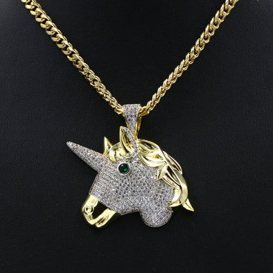 Hiphop Unicorn Brass Pendant W/ 5mm 18-30 inches Cuban Chain - Raonhazae