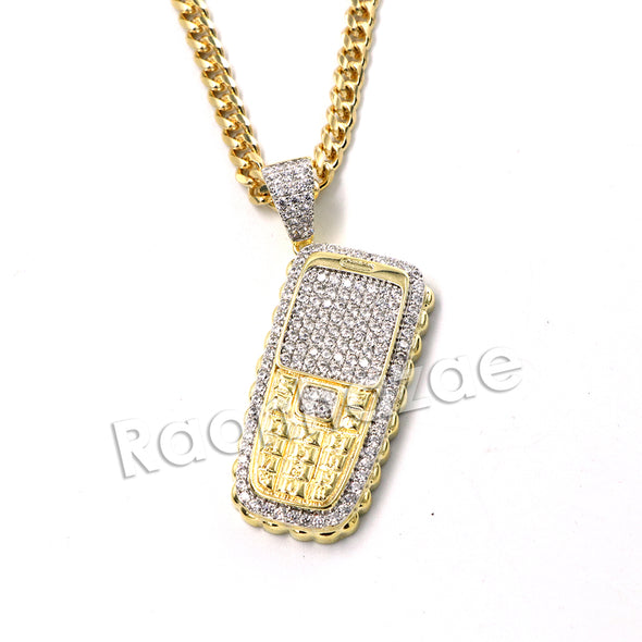 Hiphop Cellphone Brass Pendant W/ 5mm 18-30 inches Cuban Chain - Raonhazae