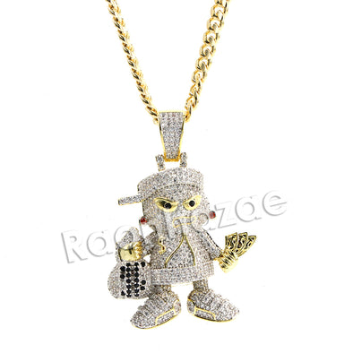 Hiphop Mini Goon Brass Pendant W/ 5mm 18-30 inches Cuban Chain - Raonhazae