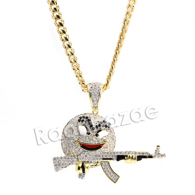 Hiphop Gangster M&M Candy Brass Pendant W/ 5mm 18-30 inches Cuban Chain - Raonhazae