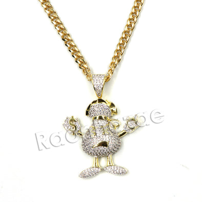 Hiphop Gangster Emoji Brass Pendant W/ 5mm 18-30 inches Cuban Chain - Raonhazae