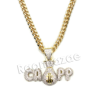 Hiphop Black mafia CAPP dat $$$ Brass Pendant W/ 5mm 18-30 inches Cuban Chain - Raonhazae