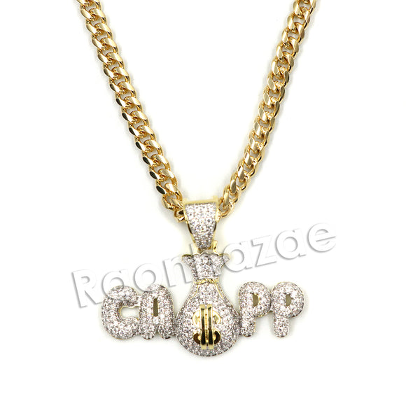 Hiphop Iced Out Black mafia CAPP dat $$$ Brass Pendant W/ 5mm 18-30 inches Cuban Chain - Raonhazae