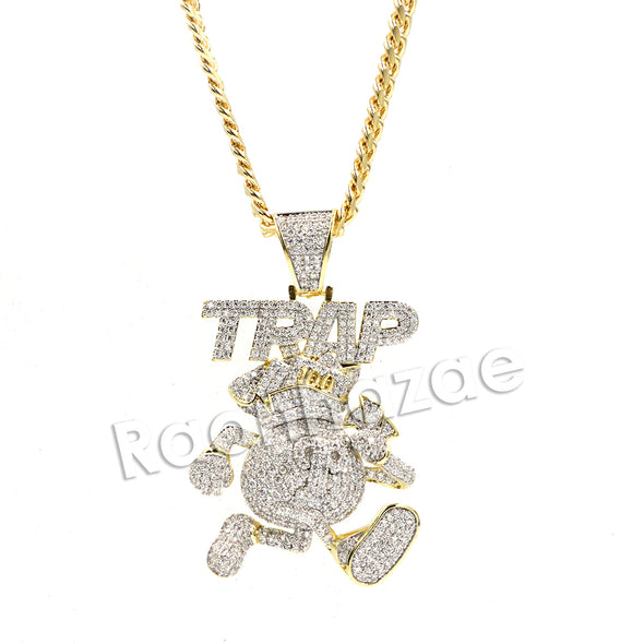 Hiphop Iced Out Mafia TRAP Music 100 Brass Pendant W/ 5mm 18-30 inches Cuban Chain - Raonhazae