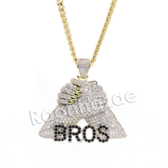 Hiphop Iced Out BMF Bros Fist Brass Pendant W/ 5mm 18-30 inches Cuban Chain - Raonhazae