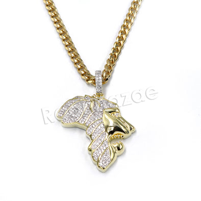 Hiphop Iced Out Africa Lion Face Brass Pendant W/ 5mm 18-30 inches Cuban Chain - Raonhazae